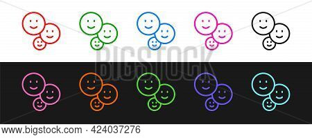 Set Line Happy Friendship Day Icon Isolated On Black And White Background. Everlasting Friendship Co