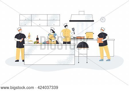 Professional Chefs Cooking In Commercial Kitchen. Cooks Using Stove And Equipment, Interior Flat Vec