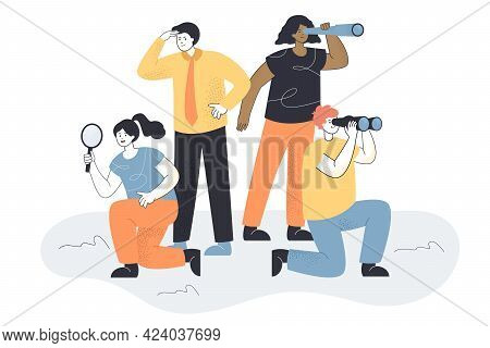 Business Team Looking For New People. Allegory For Searching Ideas Or Staff, Woman With Magnifier, M