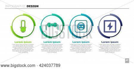 Set Led Light Bulb, Resistor Electricity, Electrical Outlet And Lightning Bolt. Business Infographic