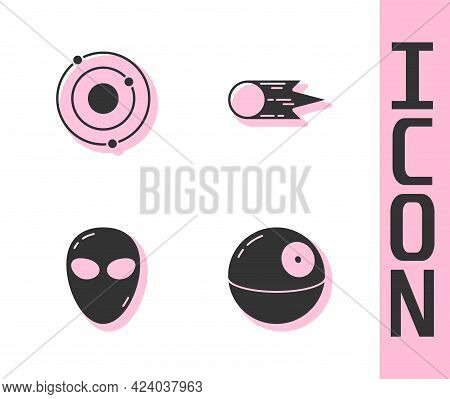 Set Death Star, Solar System, Alien And Comet Falling Down Fast Icon. Vector