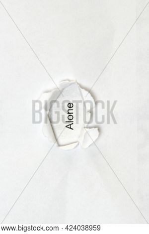 Word Alone On White Isolated Background, The Inscription Through The Wound Hole In Paper. Concept Of