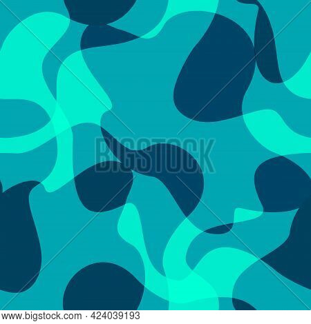 Abstract Modern Flat Geometric Liquid Shape Forms Seamless Pattern. Trendy Minimal Textured Backgrou