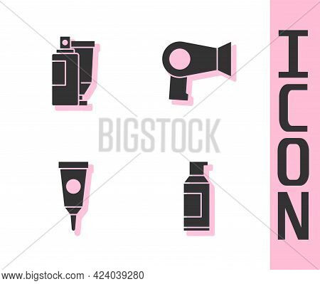 Set Spray Can For Hairspray, Cream Lotion Cosmetic Tube, And Hair Dryer Icon. Vector