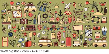 A Large Set With Things For Traveling To The Mountains And The Sea. Set Of Travel Things On Vacation