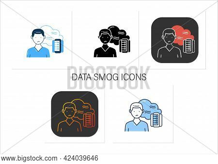 Data Smog Icons Set. Information Overload. Overwhelmed Individuals Brain And System. Unsatisfied Sit