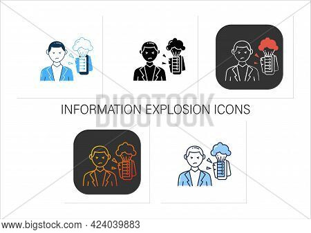 Information Explosion Icons Set.rapid Increase Of Published Information Or Data.information Overload