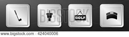 Set Golf Club, Tee, Label And Sun Visor Cap Icon. Silver Square Button. Vector