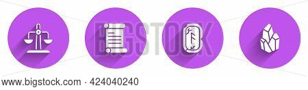 Set Libra Zodiac, Decree, Parchment, Scroll, Magic Runes And Stone Icon With Long Shadow. Vector