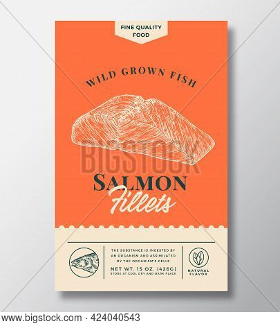 Wild Salmon Abstract Vector Packaging Design Or Label. Modern Typography Banner, Hand Drawn Fish Fil