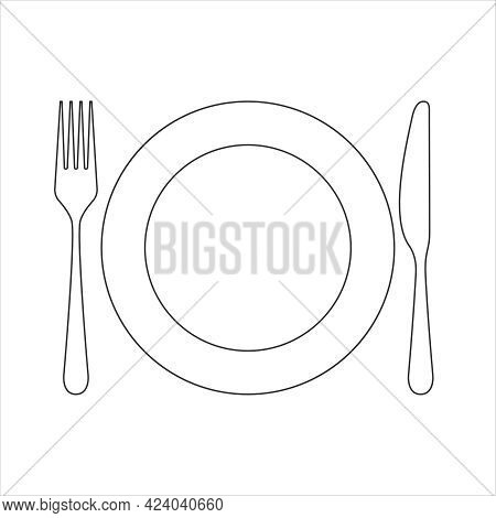 Tableware Icon. Isolated Sign Plate, Fork And Knife On White Background. Vector Illustration.