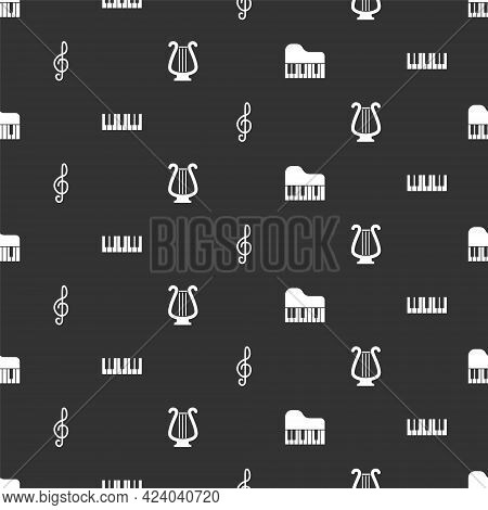 Set Grand Piano, Music Synthesizer, Treble Clef And Ancient Lyre On Seamless Pattern. Vector