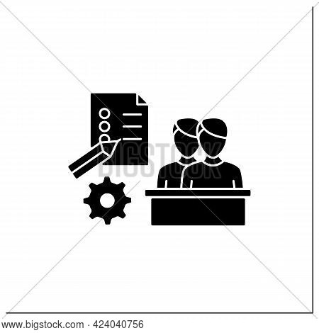 Employee Survey Glyph Icon. Questionnaire To Obtain Opinions, Reviews. Evaluate Employee Mood. Talen