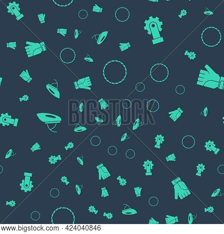 Set Bicycle Wheel, Derailleur Bicycle Rear, Helmet And Gloves On Seamless Pattern. Vector