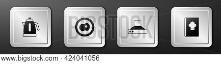 Set Electric Kettle, Scrambled Eggs, Kitchen Extractor Fan And Cookbook Icon. Silver Square Button.