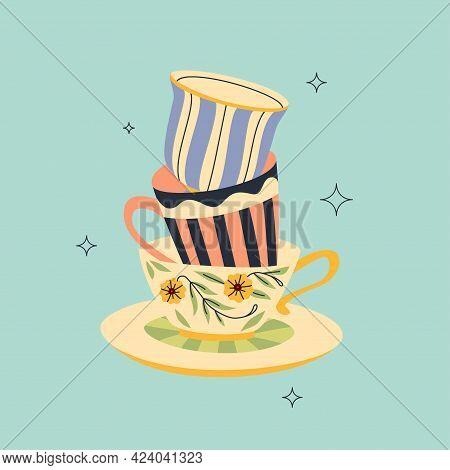 Pile Of Teacups Modern Vintage Design. Porcelain Mugs Stuck One In Another. Flat And Line Vector Des