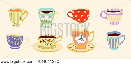 Tea Cups Set Isolated On Beige Background. Colorful Modern Flat Design. Porcelain Mugs Vector Illust