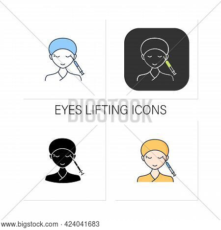 Cosmetic Injection Icons Set.injection Into Corners Of Eyes. Eyes Lifting.rejuvenation. Beauty Cosme