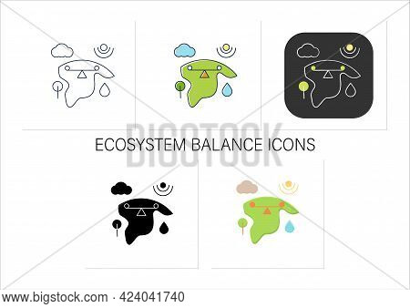 Ecosystem Balance Icons Set.requires Sustainable Interdependence Of Plants With Non-living Factors I