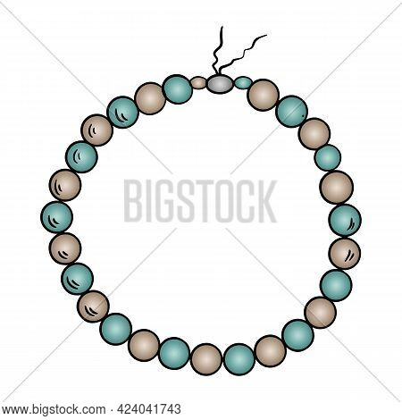 Illustration Of Fashion Jewelry Necklace Made Of Beads Of Different Colors On White Isolated Layer