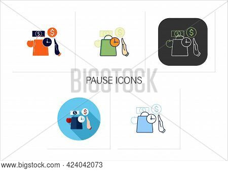 Pause Icons Set. Pause Before Purchasing. Waiting Before Shopping. Thoughtful Spending Money. Mindfu