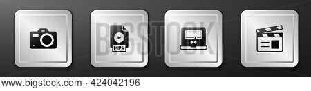 Set Photo Camera, Mp4 File Document, Video Recorder On Laptop And Movie Clapper Icon. Silver Square