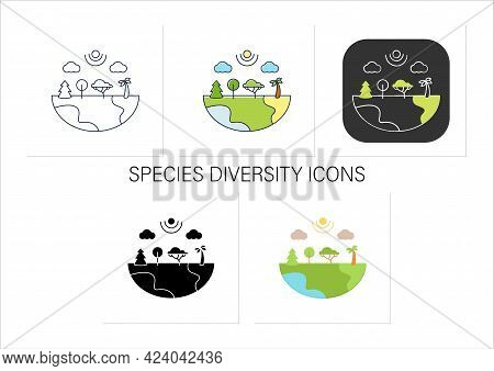 Species Diversity Icons Set.describe Diversity Of Living Species. Included Insects, Animals, Plants,