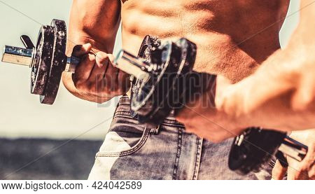 Man Training With Dumbbells. Dumbbell. Muscular Bodybuilder Guys, Exercises With Dumbbells. Strong B