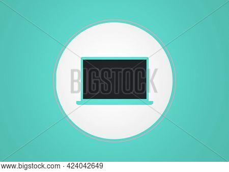 Composition of computer screen in white circle on blue background. global communication and technology concept digitally generated image.