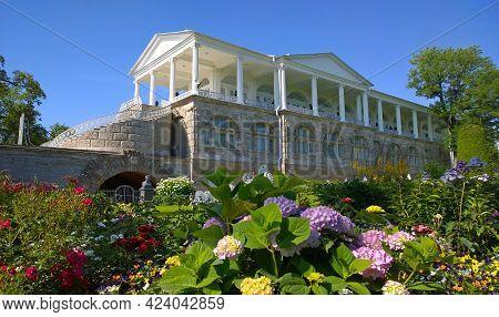 Pushkin, St. Petersburg, Russia - July 2019: Flower Garden With Hortensia Near Cameron Gallery Of Ca