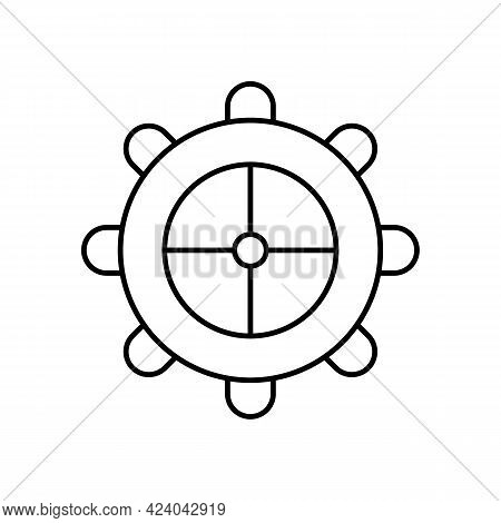 The Rudder Of The Ship. Steering Wheel For Floating Transport. Boat Steering. Vector Line Icon. Edit