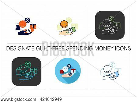 Designate Guilt-free Spending Money Icons Set.hand Holds Money.happy Emoji.thoughtful Spending Money