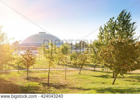 Santiago De Chile, Region Metropolitana, Chile, South America - November 19, 2018:  View Of Movistar