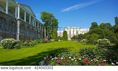 Beautiful Garden With Flower Bed, Flowering Bushes, Thuja Near Cameron Gallery Of Catherine Palace L