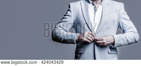 Male In Tuxedo. Elegant Handsome Man In Suit. Handsome Bearded Businessman In Classic Suits