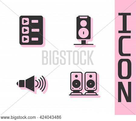 Set Stereo Speaker, Music Playlist, Speaker Volume And Icon. Vector