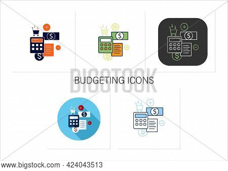 Track Spending Icons Set. Money Spent Calculations. Keep Accounts Track. Thoughtful Spending Money.