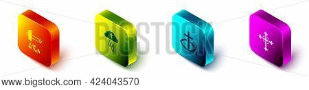 Set Isometric Crucifixion Of Jesus Christ, Gods Helping Hand, Christian Fish And Cross Icon. Vector
