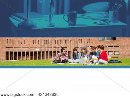Composition of students sitting outdoors on campus using laptop and blue tinted retro desk. global communication technology and education concept digitally generated image.