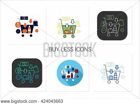 Buy Less Icons Set.basket With Necessary Products. Thoughtful Spending Money.purchase Only Necessary