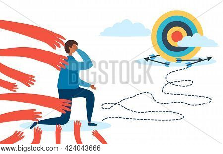 A Man With An Arrow Goes To The Goal, Fear Prevents Him From Moving. Fears And Limitations In The He