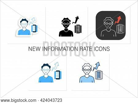 New Information Rate Icons Set. Rapidly Increasing Rate Of New Info. Inaccurate, Fake Info. Collecti