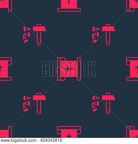 Set Crucifixion Of Jesus Christ And Flag With Christian Cross On Seamless Pattern. Vector