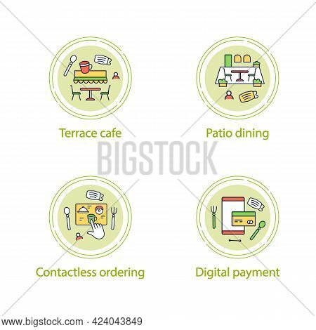 Restaurant New Normal Concept Line Icons. Digital Payment, Patio Dining, Contactless Ordering, Terra