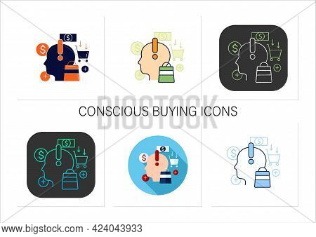 Mindful Spending Icons Set.thoughtful Shopping. Necessary Purchases.profitable Investment.thoughtful