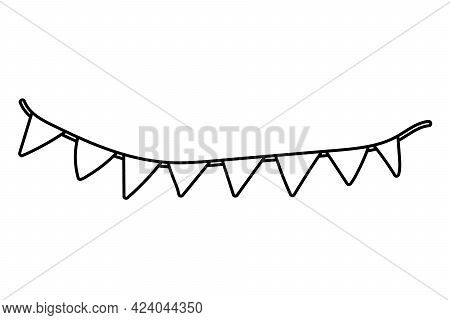 Carnival Garland With Flags On A White Background. Ribbon With Cut Triangles. Party Pennants For Bir