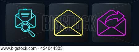 Set Line Envelope With Magnifying Glass, Outgoing Mail And Envelope. Black Square Button. Vector