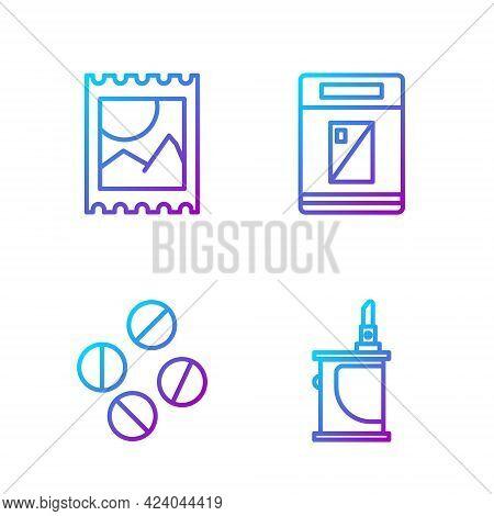 Set Line Electronic Cigarette, Medicine Pill Or Tablet, Lsd Acid Mark And Cigarettes Pack Box. Gradi