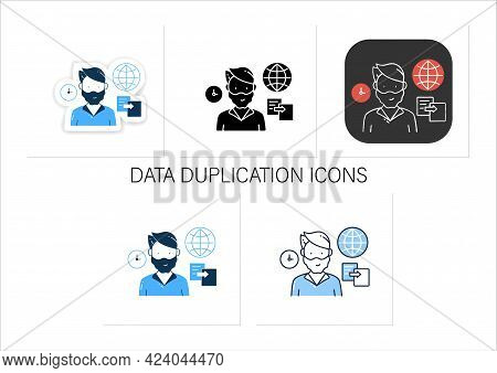 Data Duplication Icons Set. Ease Duplication Data Across The Internet Badge For Designs. Copied Info