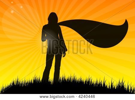 Young Woman With Scarf On Grass, Silhouette